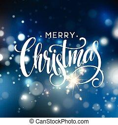 vánoce, nápis, dále, sněhová vločka, jiskra, grafické pozadí., vektor, ilustrace