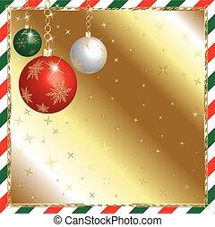 vánoce, nezkušený, a, červeň, ozdoby