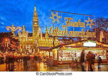 vánoce, obchod, do, vídeň