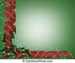 vánoce, opratě, hraničit, cesmína