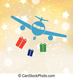 vánoce, zlatý hřeb, grafické pozadí, s, letadlo, a, dar,...