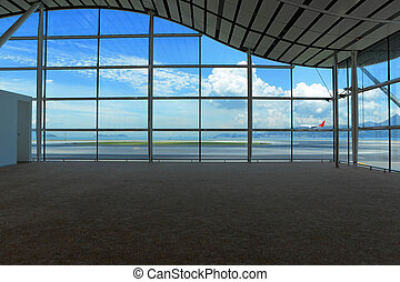 várakozás, előszoba, alatt, repülőtér