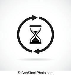 várakozás, vektor, idő, ikon