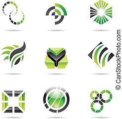 vário, abstrato verde, ícones, jogo, 9