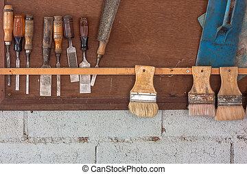vário, antigas, artesão, ferramentas, ligado, parede