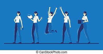vário, apartamento, isolado, caricatura, businesswoman., cor, poses, ilustração, branca, vetorial