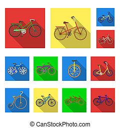 vário, bicycles, apartamento, ícones, em, jogo, cobrança, para, design., a, tipo, de, transporte, bitmap, símbolo, estoque, teia, illustration.