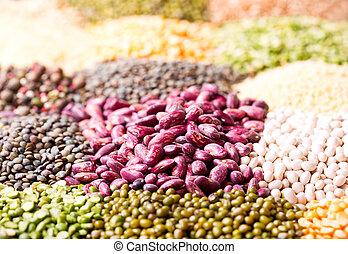 vário, cereais, sementes, feijões, e, grãos