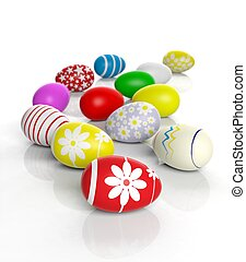 vário, colorido, ovos páscoa, isolado, branco