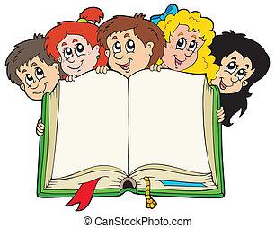vário, crianças, segurando, livro