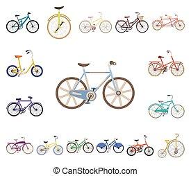 vário, design., vetorial, transporte, caricatura, bicycles, ...