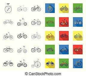 vário, design., vetorial, transporte, mono, illustration., ...