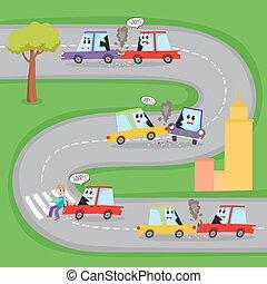 vário, estrada, acidentes, com, carro engraçado, caráteres