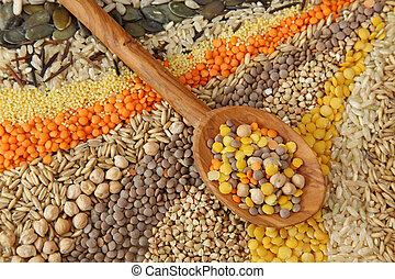 vário, grãos, sementes