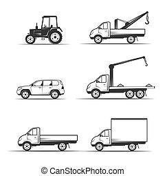 vário, jogo construção, transporte, maquinaria