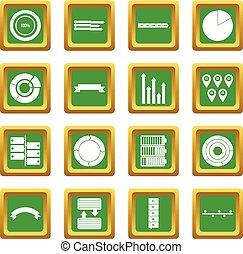 vário, jogo, verde, pessoas, ícones