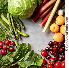 vário, legumes frescos, e, frutas