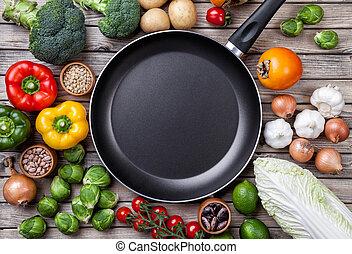 vário, legumes, frutas, e, ervas, com, um, frigideira