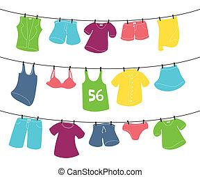 vário, linha, roupa lavagem