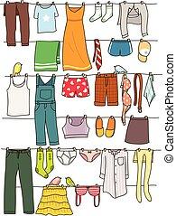 vário, linha, secar, roupa lavagem