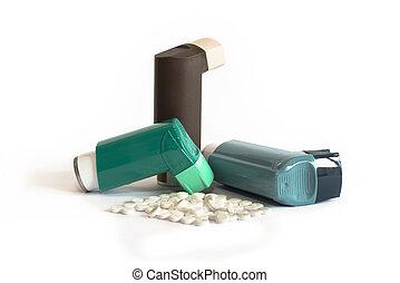 Vário, medicações, asma, inaladores, incluindo
