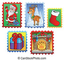 vário, natal, poste, selos, 2