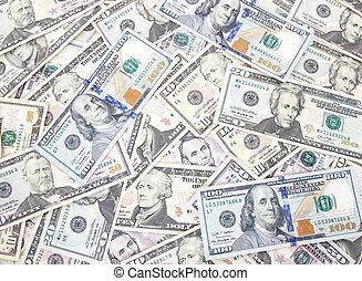 vário, notas, conceito, dólar, fundo
