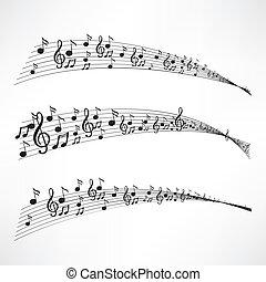 vário, notas, música, aduela