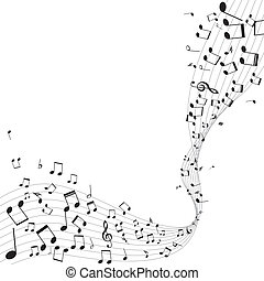 vário, notas música, ligado, aduela, vetorial