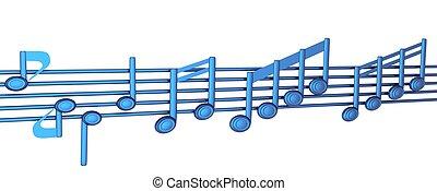 vário, notas música, ligado, stave., azul, 3d