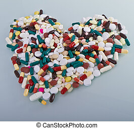 vário, pílulas, em, um, forma, de, coração