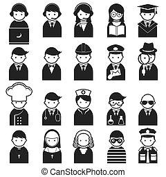 vário, pessoas, ícones, ocupação