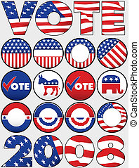 vário, político, botões, e, ícones