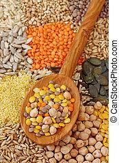 vário, sementes, e, grãos