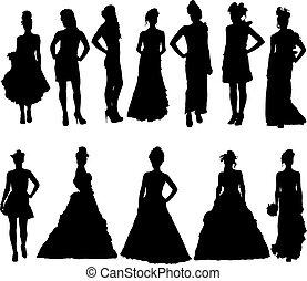 vário, silhuetas, vestido, mulheres