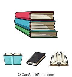 vário, tipos, de, books., livros, jogo, cobrança, ícones,...