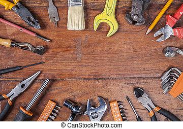 vário, tipos, de, ferramentas, espaço cópia