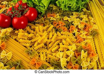 vário, tipos, de, italiano, macarronada, e, tomate cereja