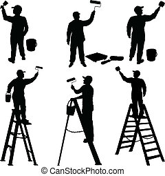 vário, trabalhadores, pintores, silueta
