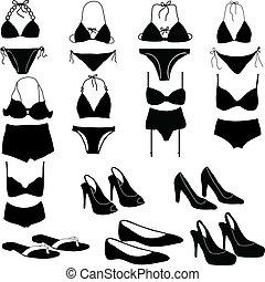 vário, womens, íntimo, roupa, silício