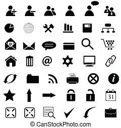 vários, ícones negócio