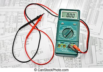vários, esquemas, elétrico, elétrico, testador