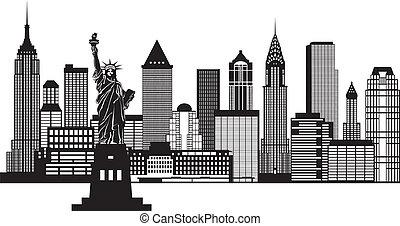 város, ábra, láthatár, fekete, york, új, fehér