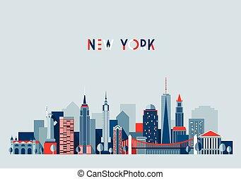 város, ábra, vektor, york, új, építészet