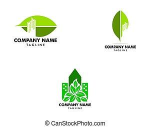 város, állhatatos, levél növényen, tervezés, sablon, jel