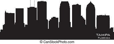 város, árnykép, florida, láthatár, vektor, tampa