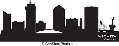 város, árnykép, kansas, wichita, láthatár, vektor