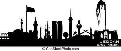 város, árnykép, láthatár, vektor, szaud-arábia, jeddah