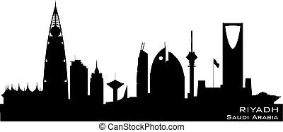 város, árnykép, riyadh, láthatár, vektor, szaud-arábia