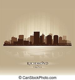 város égvonal, árnykép, richmond, virginia